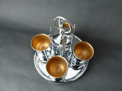 Vintage Breakfast Set, Four Chrome Plate Egg Cups, Stand & Apostle Spoons