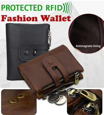 Genuine Leather Mens Womens Wallet Zipper&Hasp Male Hi-Q Purse RFID Antimagnetic