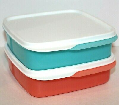 Tupperware Lunch Set of 2 Lunch-It Divided Bento Boxes Blue & Orange Keepers