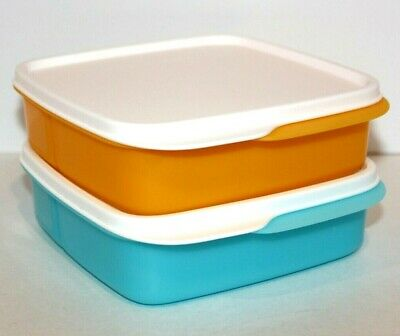 Tupperware Lunch Set of 2 Lunch-It Divided Bento Boxes Blue & Yellow Keepers