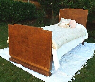 Restored refurbished Antique Art Deco 1930s Burr Walnut Single 3ft Bed New base