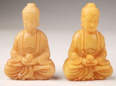 2 Unique Jade Statue Pendant Guanyin Amulet Gift Collec Spirituality Old