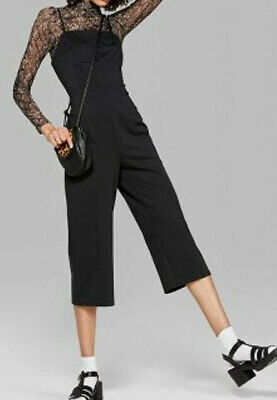 *Womens Strappy Knit Square Neck Polyester Blend Jumpsuit Wild Fable Black
