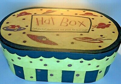 Hat Box Vintage Oval Storage Farm House Shabby Country Bobs Boxes #B