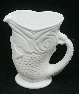 Victorian English Glass Fish Figural Pitcher, Creamer, W.h. Heppell?