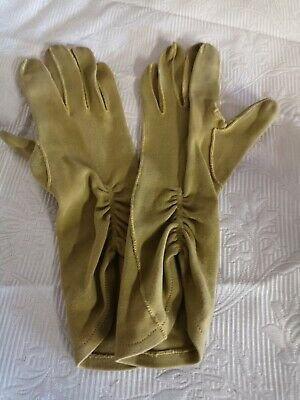 Vintage Kir 1950s-1960s Gloves. Striking chic  mustard yellow with ruched effect