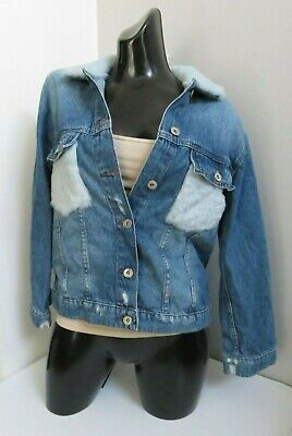 Zara Girls Collection Blue Denim Faux Fur No 8 Jacket Coat Size 11-12 Yrs 152 Cm