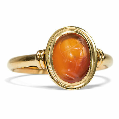 Carnelian Intaglio: Young Man, Roman Antique 18. Jh in 750 Red Gold Ring Cameo
