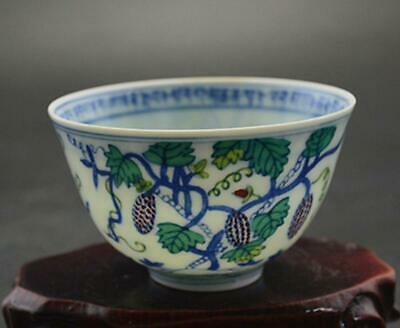 chinese old porcelain hand-painted pastel grapes pattern cup/chenghua mark 08658