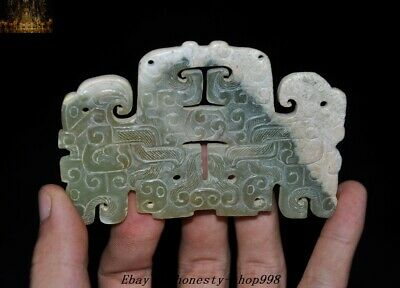 Antique China Hetian jade carved Han Dynasty Beast Amulet Jade Bi Yu pei pendant