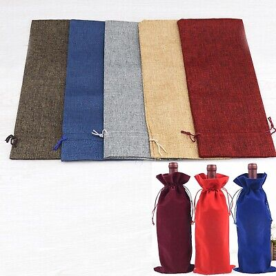 20 Pcs 5-colored 750ml Winebottle Bag Jute Bags Christmas Wine Glass Charms