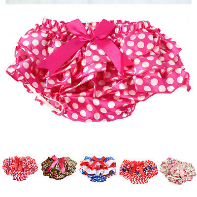 Baby Girls Ruffle Bowknot Satin Bloomers Brief Diaper Nappy Cover Panties 1-2y