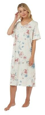 Ladies Short Sleeve 100% Jersey Cotton Nightdress Blue Floral