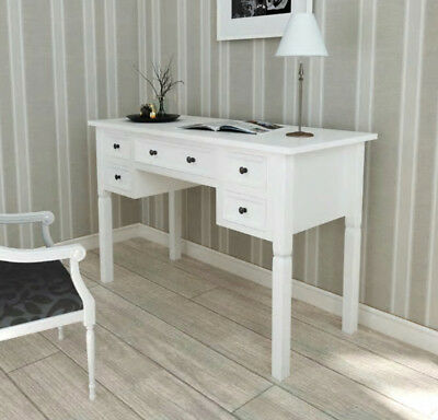 Vintage Writing Desk With 5 Drawers Office Computer Table Retro Style Furniture
