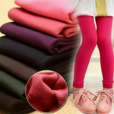 Kid Girl Winter Fleece Warm Leggings Slim Thick Stretchy Trousers Pants Size 2-7