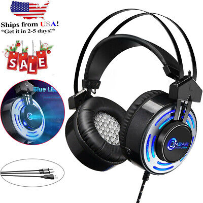 For PS4 Gaming Headset Xbox One Headphone PC Earphone Stereo Bass