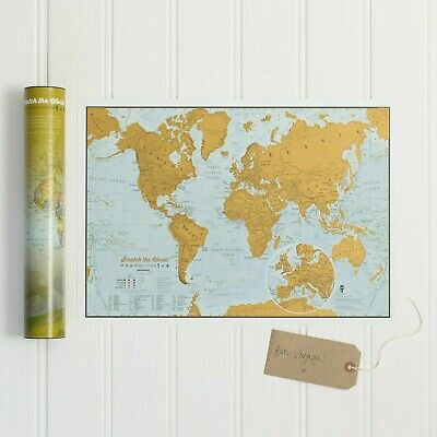 🌍 Scratch The World Travel A3 size 297 x 420 mm 11.7 x 16.5 in. Giftware. Maps
