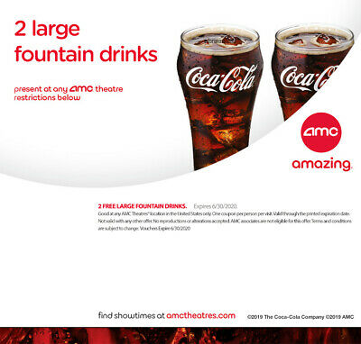AMC 2 Large Fountain Drinks, Expires 6/30/2020
