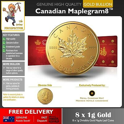 8 x 1g Gold Maple Leaf Coins | Royal Canadian Mint | 99.99% | Investment Grade