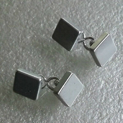 Cufflinks Vintage Mens Cuff Links 1980s 1990s CHUNKY SILVERTONE TRADITIONAL