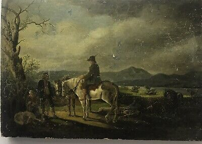 Victorian 19th Century antique oil painting on panel travellers in a landscape