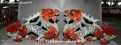 Unique China Old Jade Pure Hand Carving Fengshui Dragon Loong Animal Statue Pai