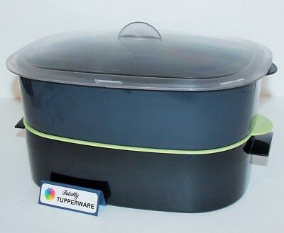 Tupperware Oval Stack Cooker Microwave Steamer Green & Black