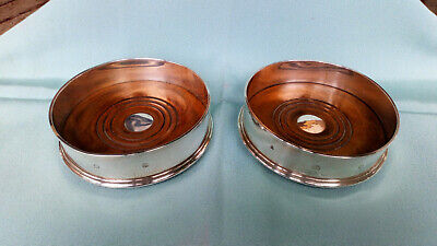 Pair CHAMPAGNE / WINE  Bottle Coasters  English STERLING SILVER   288g  VGC 1994