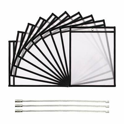 Dry Erase Pockets 10 Pack A4 Load Sleeves Dry Erase Sheets Page Protectors Black