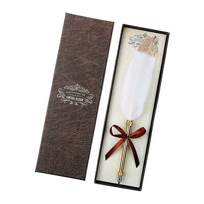 Retro Gift Feather Pen Signature Calligraphy Writing Metal Quill Dip Pen w/ Box