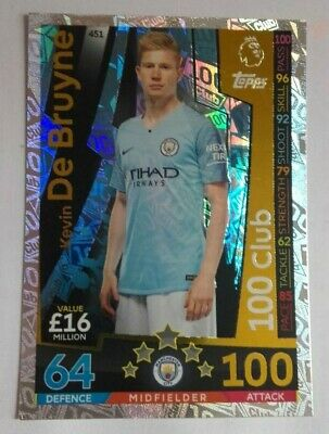 Match Attax 2018/19 18 19 Kevin De Bruyne 100 Club Hundred Club Manchester City