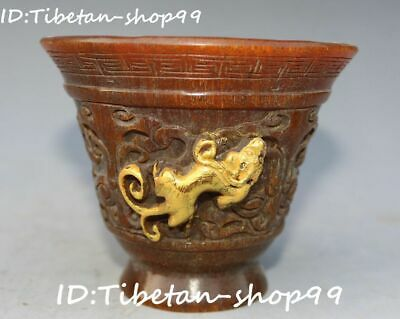 Marked China Ox Horn Gilt Dynasty Dragon Pixiu Beast Wine Drinking Cup Wineglass