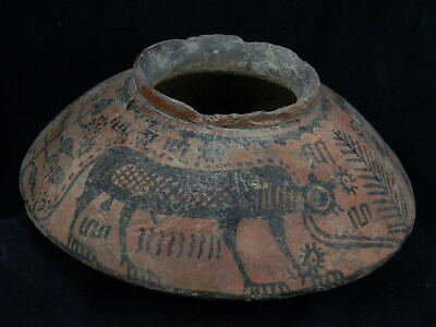 Ancient Large Size Teracotta Painted Pot With Lions Indus Valley 2500 BC #PT172