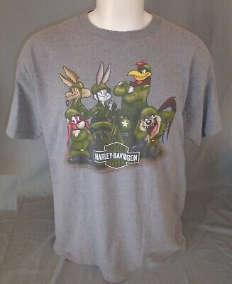 Genuine Harley-Davidson Motorcycles Loony Tunes Fort Hood TX T-Shirt Extra Large