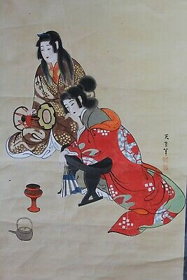 """Japanese hanging scroll painted on paper """"beauty"""" Showa G99"""