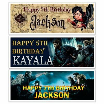 X 2 Personalised Harry Potter Birthday Party Banners Name  Decoration
