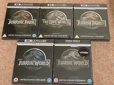 Jurassic Park 1-3 World 1&2 4K Uhd + Blu-Ray Steelbooks Uk Ltd Edns New & Sealed