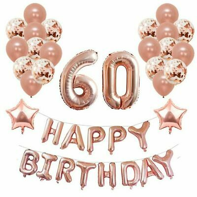 Rose Gold Happy Birthday Bunting Banner Balloons Party Decor 18/21/30/40/50/60