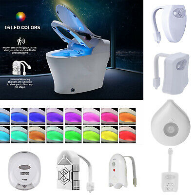 8/16 Colors Changing Bathroom Home LED Toilet Light Sensor Night Motion Lamp Kit