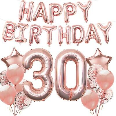 Rose Gold Happy Birthday Bunting Banner Balloons Party Decor 18/21/30/40/50/60..