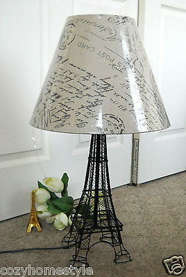 """Royal Paris Eiffel Tower Table Accent Lamp French Script Shade 26""""Tall Gift"""