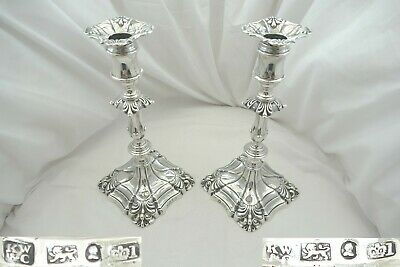 Rare Pair William Iv Hm Sterling Silver Candlesticks 1833
