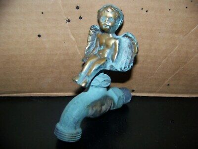 Vintage Outdoor Solid Brass Cherub / Angel Spigot / Faucet