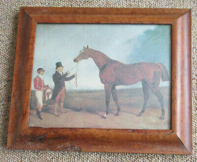 An Antique Birds Eye Maple Picture Frame, Print Racehorse,Jockey And Owner