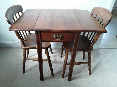 Antique Pine Drop Leaf Cottage/Studio Table With Drawer