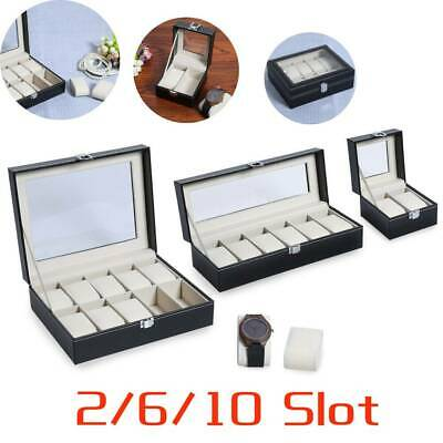 2/6/10 Slot Men Watch Box Leather Display Case Organizer Glass Jewelry Storage