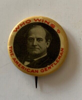 William Bryan Campaign Button Political Pinback Pin 1908 Uncommon