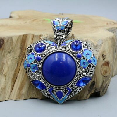Collection China Handwork Culture Miao Silver Mosaic Cloisonne Flowers Pendant