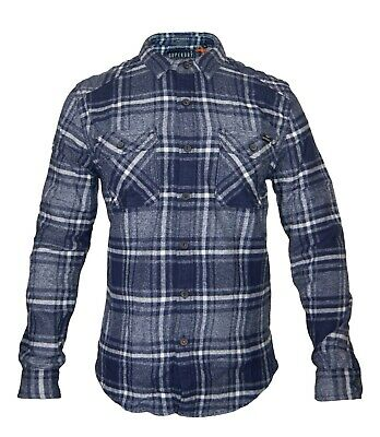 SUPERDRY New Men's Winter Check Shirt Milled Flannel Buttons Pockets Logo BNWT