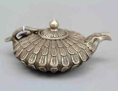 China Collectable Old Miao Silver Handwork Carve Phoenix Unique Good Luck Teapot